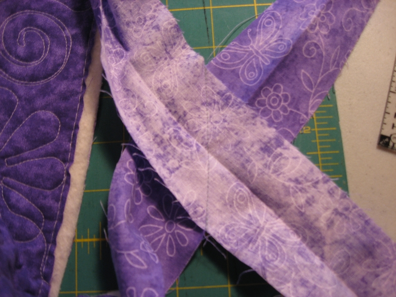stitch strips together on the diagonal